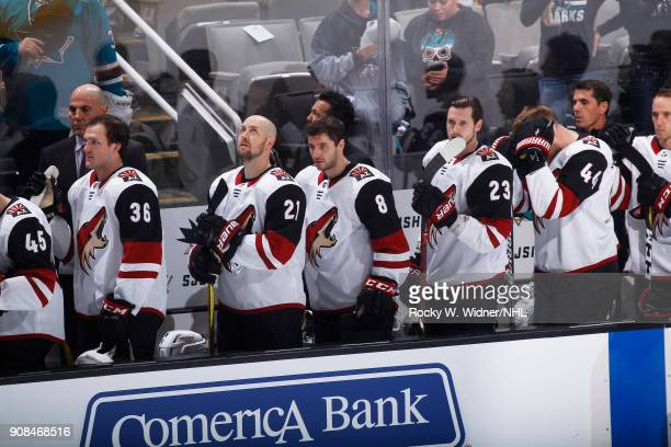 Christian Fischer Derek Stepan Tobias Rieder Oliver EkmanLarsson and Kevin Connauton of the Arizona Coyotes stand for the national anthem of the game...