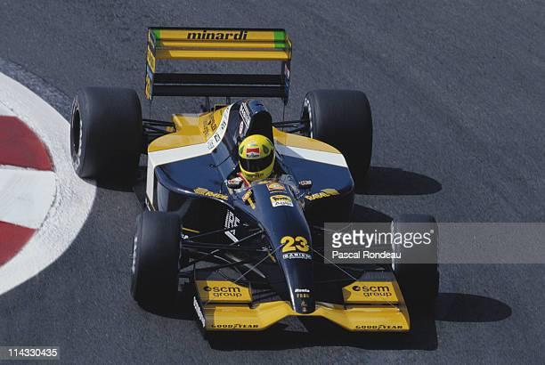 Christian Fittipaldi drives the Minardi Team Minardi M192 Lamborghini 35 V12 during practice for the RhonePoulenc French Grand Prix on 4th July 1992...