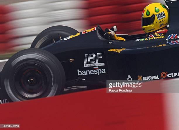 Christian Fittipaldi of Brazil drives the Minardi Team Minardi M191 Ferrari V12 during the Brazilian Grand Prix on 5 April 1992 at the Autodromo Jose...
