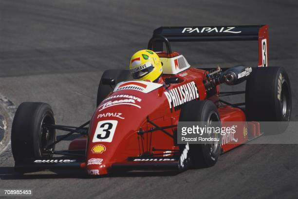Christian Fittipaldi of Brazil drives the West Surrey Racing Ralt RT34 Mugen Honda during the British Formula 3 Championship race on 29 April 1990 at...