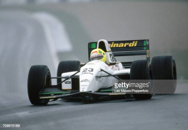 Christian Fittipaldi of Brazil enroute to placing seventh, driving a Minardi M193 with a Ford HB 3.5L V8 engine for the Minardi Team during the...