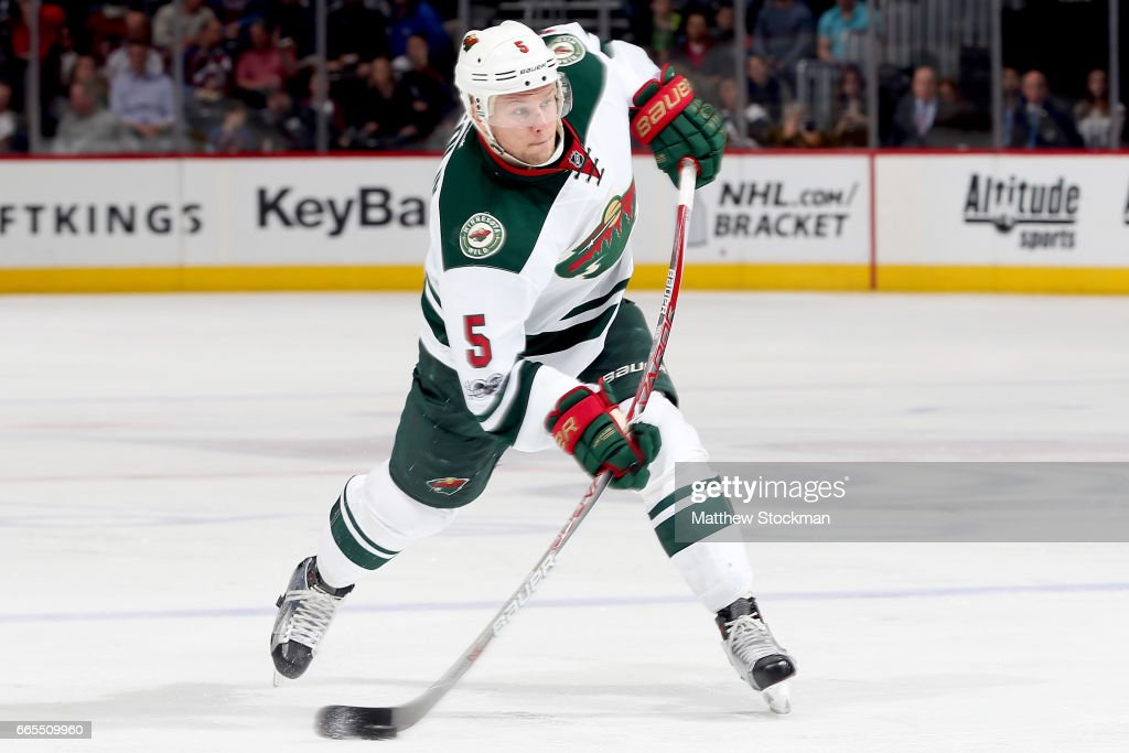 Christian Folin #5 of the Minnesota Wild fires a shot on goal against the Colorado Avalanche at the Pepsi Center on April 6, 2017 in Denver, Colorado.