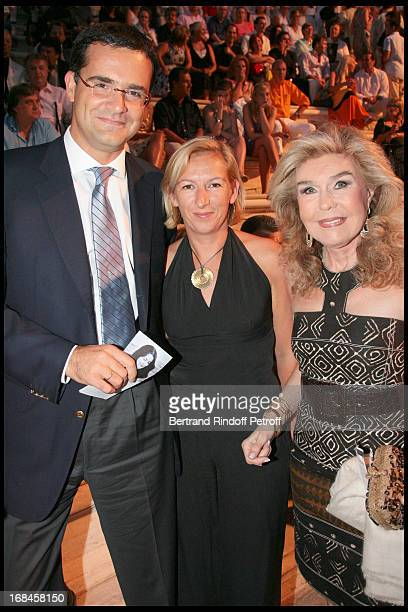 Christian Fournaud France's Ambassador to Greece his wife and Marianna Vardinoyannis at Nana Mouskouri's Farewell Concert At Odeon Herodes Atticus In...