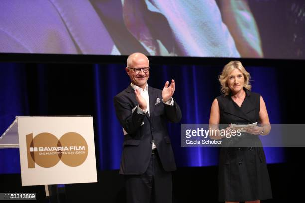 Christian Franckenstein CEO Bavaria Film and Iris Ostermaier CFO Bavaria Film attend the Bavaria Film Reception One Hundred Years in Motion on the...