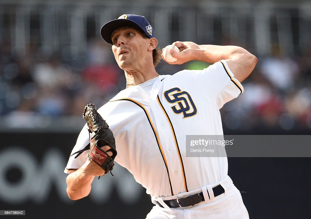 Christian Friedrich #53 of the San Diego Padres pitches during the first inning of a baseball game against the Cincinnati Reds at PETCO Park on July 30, 2016 in San Diego, California.