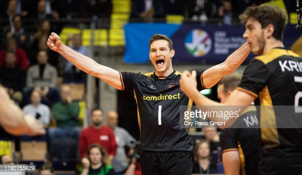 Christian Fromm of team Germany during the Volleyball European Qualification match between Bulgaria and Germany at MaxSchmelingHalle on January 9...