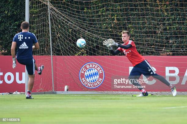 Christian Fruchtl of FC Bayern Muenchen looks the ball during an International Champions Cup FC Bayern training session at Geylang Field on July 24...