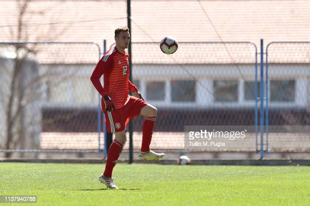 Christian Fruchtl of Germany in action during the UEFA Elite Round match between Norway U19 and Germany U19 at Gradski stadion on March 23 2019 in...