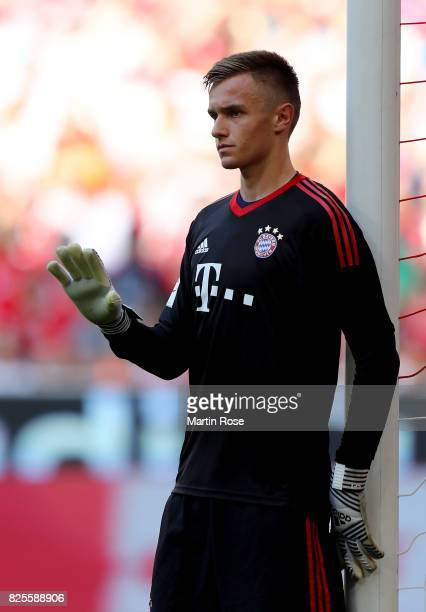 Christian Fruechtl goalkeeper of Muenchen gestures during the Audi Cup 2017 match between SSC Napoli and FC Bayern Muenchen at Allianz Arena on...