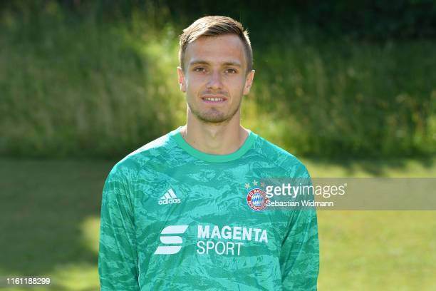 Christian Fruechtl of FC Bayern München II poses during the team presentation at Saebener Strasse Training Ground on July 10 2019 in Munich Germany