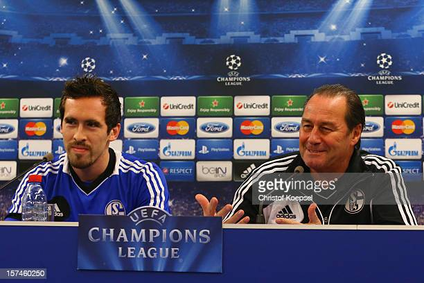 Christian Fuchs and head coach Huub Stevens attend the press conference of FC Schalke 04 at training ground of Montpellier ahead of the UEFA...