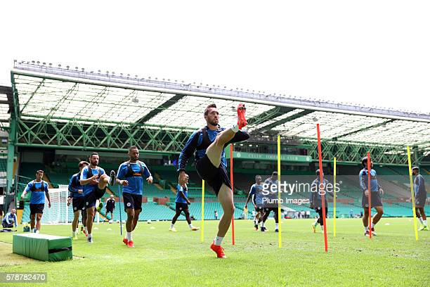 Christian Fuchs during the Leicester City Training and Press Conference at Celtic Park on July 22 2016 in Glasgow United Kingdom