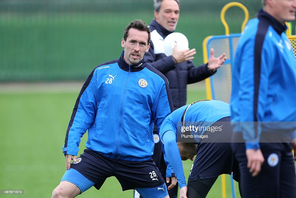 Christian Fuchs during the Leicester City training session at Belvoir Drive Training Complex on November 19 , 2015 in Leicester, United Kingdom.