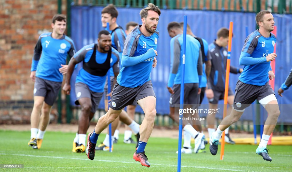 Christian Fuchs during the Leicester City training session at Belvoir Drive Training Complex on August 17 , 2017 in Leicester, United Kingdom.