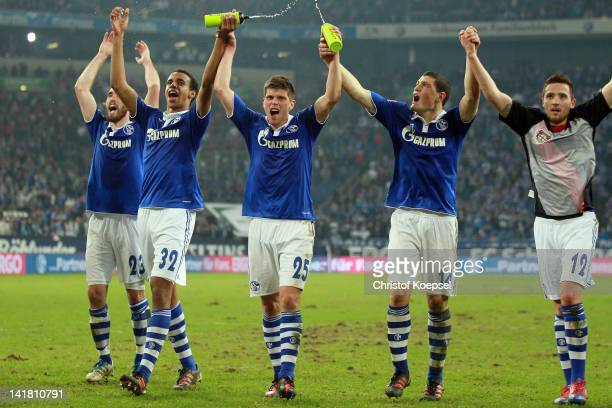 Christian Fuchs Joel Matip KlaasJan Huntelaar Kyriakos Papadopoulos and Marco Hoeger of Schalke celebrate the 20 victory after the Bundesliga match...