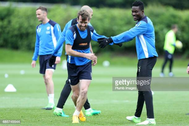 Christian Fuchs jokes with Daniel Amartey during the Leicester City training session at Belvoir Drive Training Complex on May 20 2017 in Leicester...