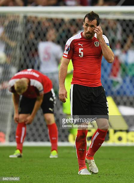 Christian Fuchs of Austria shows his dejection after Hungary's first goal during the UEFA EURO 2016 Group F match between Austria and Hungary at...