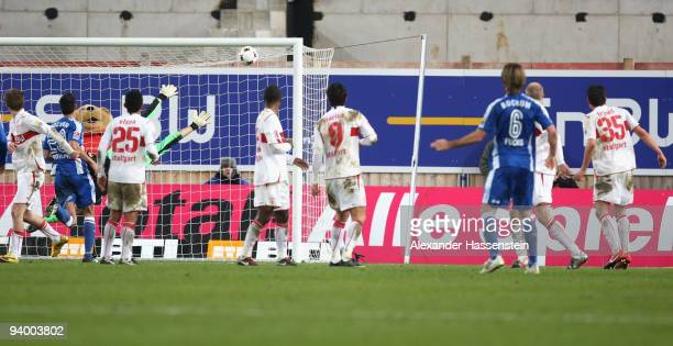 Christian Fuchs of Bochum scores the 2nd goal with a free kick during the Bundesliga match between VfB Stuttgart and VfL Bochum at Mercedes-Benz...