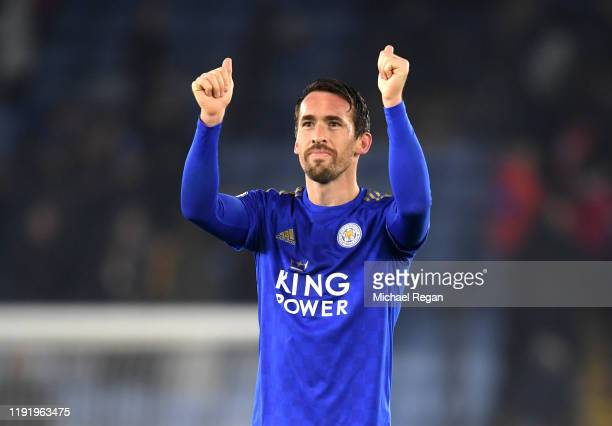 Christian Fuchs of Leicester City celebrates during the Premier League match between Leicester City and Watford FC at The King Power Stadium on...
