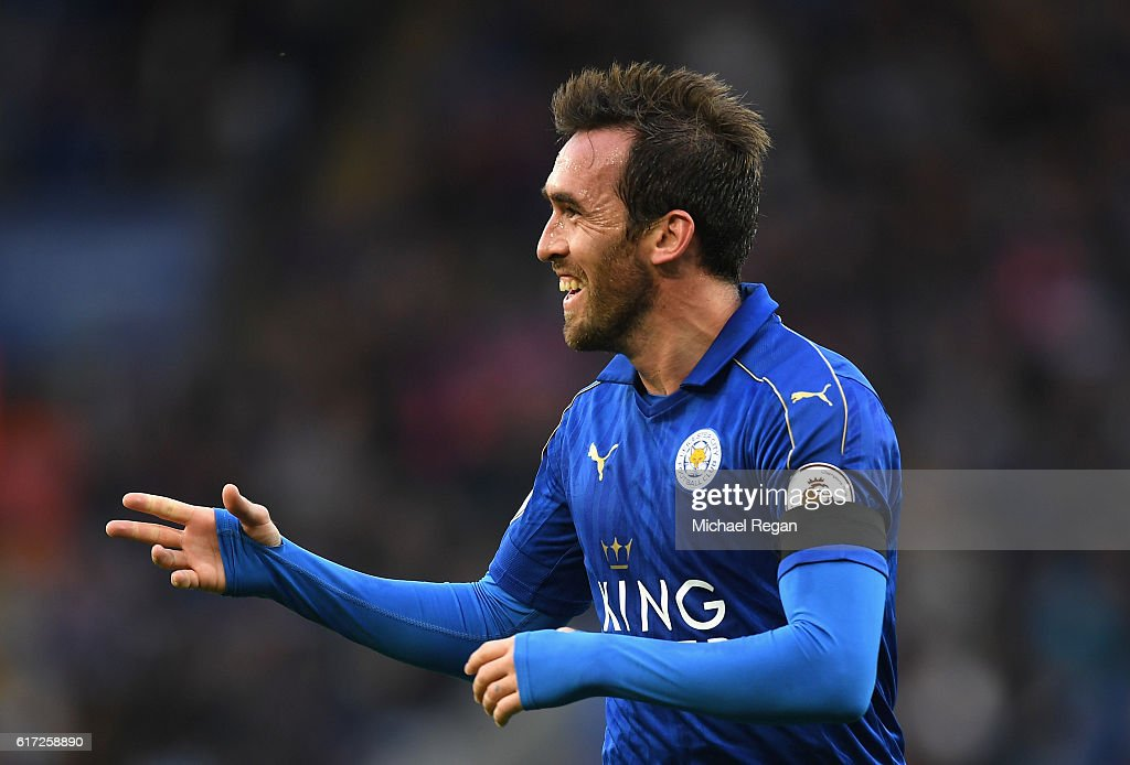 Christian Fuchs of Leicester City celebrates scoring his sides third goal during the Premier League match between Leicester City and Crystal Palace at The King Power Stadium on October 22, 2016 in Leicester, England.