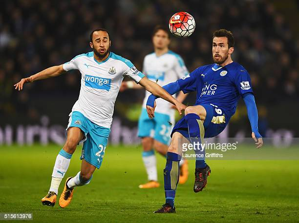 Christian Fuchs of Leicester City clears the ball from Andros Townsend of Newcastle United during the Barclays Premier League match between Leicester...