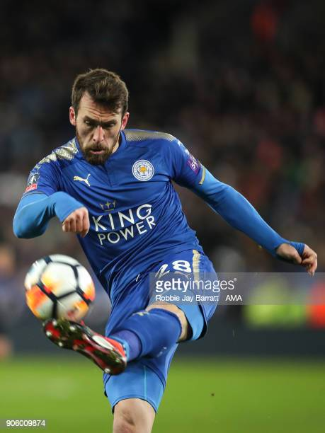 Christian Fuchs of Leicester City during The Emirates FA Cup Third Round Replay match between Leicester City and Fleetwood Town at The King Power...