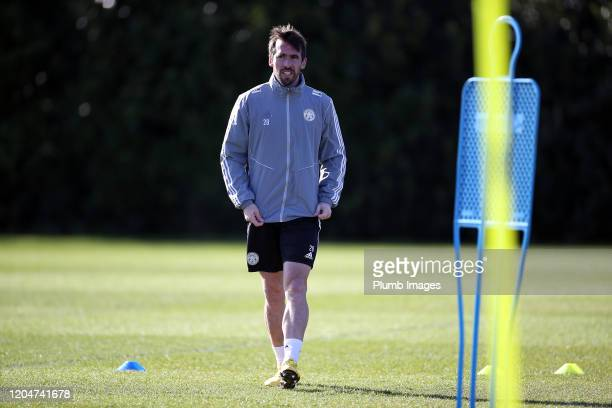 Christian Fuchs of Leicester City during the Leicester City training session at Belvoir Drive Training Complex on March 02nd 2020 in Leicester United...