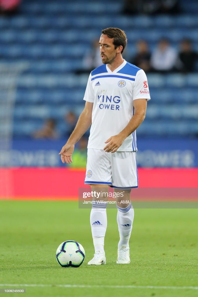 Christian Fuchs of Leicester City during the Pre-Season Friendly between Leicester City and Valencia at The King Power Stadium on August 1, 2018 in Leicester, England.