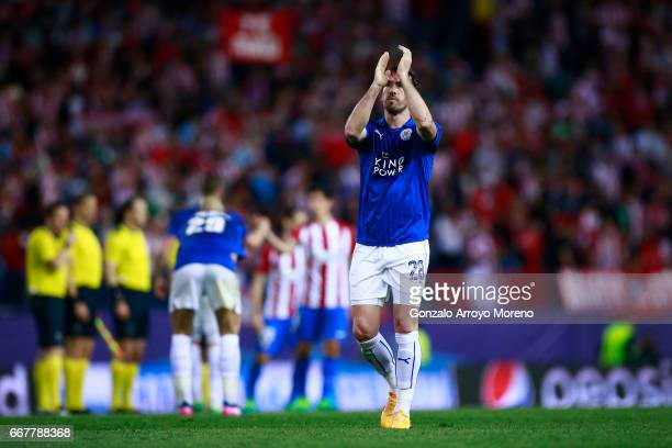 Christian Fuchs of Leicester City FC acknowledges their fans after the UEFA Champions League Quarter Final first leg match between Club Atletico de...