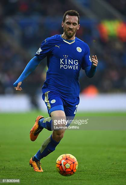 Christian Fuchs of Leicester City in action during the Barclays Premier League match between Leicester City and Norwich City at The King Power...