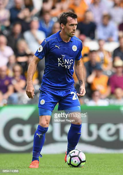 Christian Fuchs of Leicester City in action during the Premier League match between Hull City and Leicester City at KCOM Stadium on August 13 2016 in...