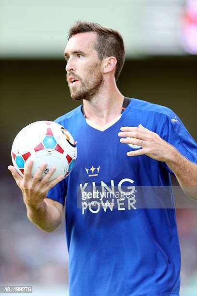 Christian Fuchs of Leicester City in action during the preseason friendly between Lincoln City and Leicester City at Sincil Bank Stadium on July 21...