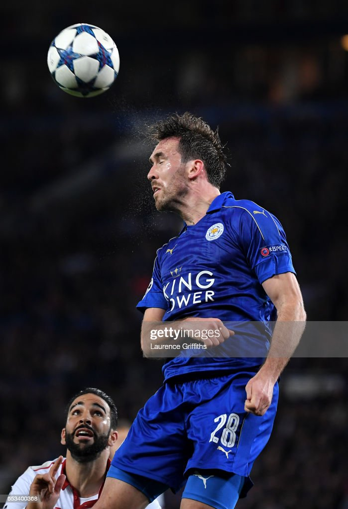 Christian Fuchs of Leicester City in action during the UEFA Champions League Round of 16 second leg match between Leicester City and Sevilla FC at The King Power Stadium on March 14, 2017 in Leicester, United Kingdom.