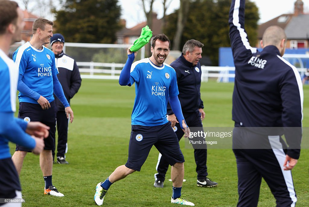 Christian Fuchs of Leicester City laughs during a Leicester City training session at Belvoir Drive Training Ground on May 3, 2016 in Leicester, England.