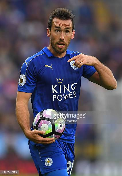 Christian Fuchs of Leicester City looks on during the Premier League match between Leicester City and Burnley at The King Power Stadium on September...
