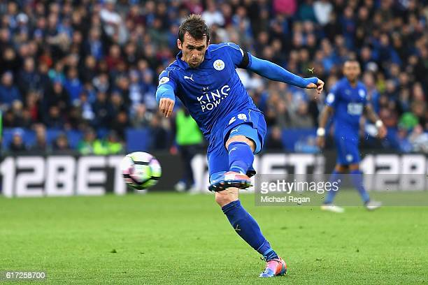 Christian Fuchs of Leicester City scores his sides third goal during the Premier League match between Leicester City and Crystal Palace at The King...