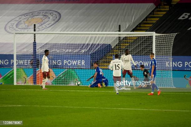 Christian Fuchs of Leicester City scores own goal for Arsenal during the Carabao Cup match between Leicester City and Arsenal at the King Power...