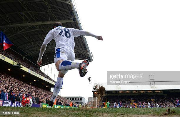 Christian Fuchs of Leicester City takes a corner kick during the Barclays Premier League match between Crystal Palace and Leicester City at Selhurst...
