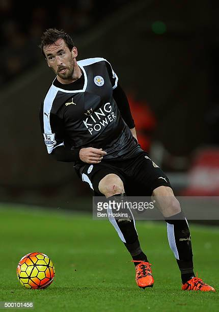 Christian Fuchs of Leicester in action during the Barclays Premier League match between Swansea City and Leicester City at Liberty Stadium on...