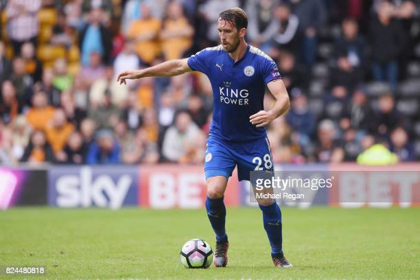 Christian Fuchs of Leicester in action during the preseason friendly match between Wolverhampton Wanderers and Leicester City at Molineux on July 29...