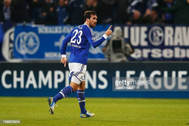 Christian Fuchs of Schalke celebrates after scoring his team's first goal during the UEFA Champions League group B match between FC Schalke 04 and...