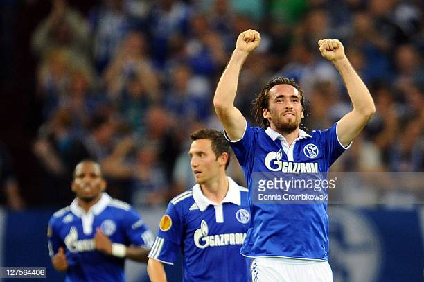 Christian Fuchs of Schalke celebrates after scoring his team's second goal during the UEFA Europa League group J match between FC Schalke 04 and...
