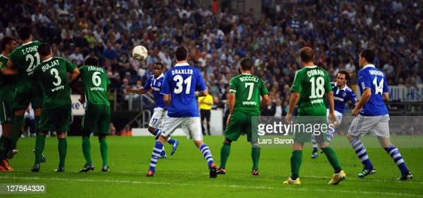 Christian Fuchs of Schalke scores his teams second goal during the UEFA Europa League group J match between FC Schalke 04 and Maccabi Haifa FC at...