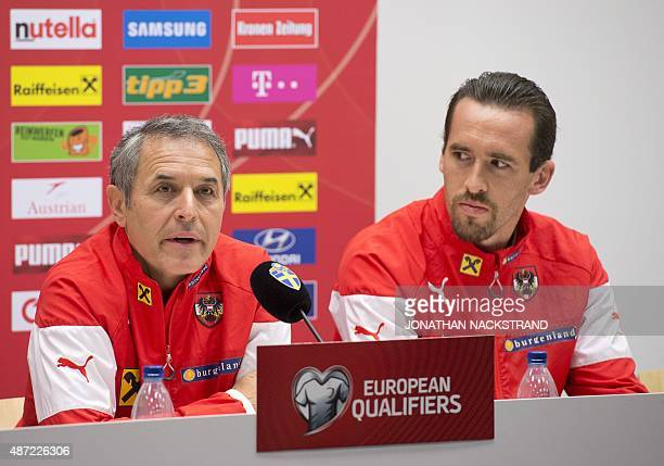 Christian Fuchs of the Austrian national football team and his head coach Swiss Marcel Koller address a press conference at Friends Arena in Solna...