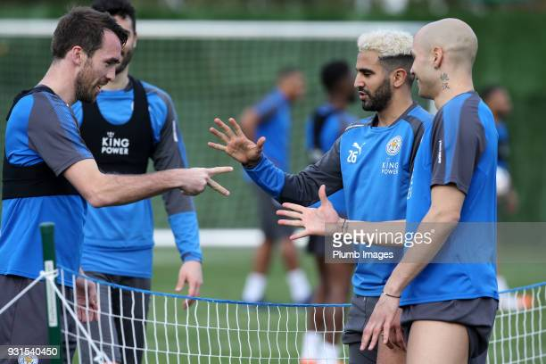 Christian Fuchs Riyad Mahrez and Yohan Benelouane during the Leicester City training session at the Marbella Soccer Camp Complex on March 13 2018 in...