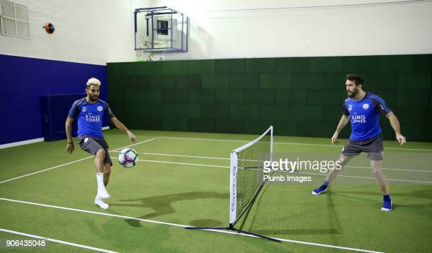 Christian Fuchs with Riyad Mahrez during the Leicester City training session at Belvoir Drive Training Complex on January 18 2018 in Leicester United...