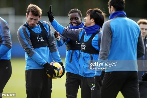 Christian Fuchs with Shinji Okazaki and Fousseni Diabate during the Leicester City training session at Belvoir Drive Training Complex on February 02...