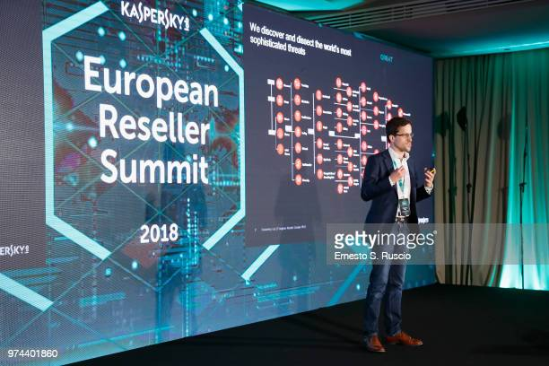 Christian Funk holds a speech at the Kaspersky Lab European Reseller Summit 2018 on June 12 2018 in Milano Marittima Cervia Italy Kaspersky Lab held...