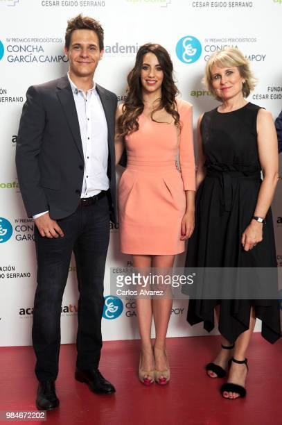 Christian Galvez his wife Almudena Cid and Maria Rey attend the Concha Garcia Campoy awards 2018 on June 26 2018 in Madrid Spain