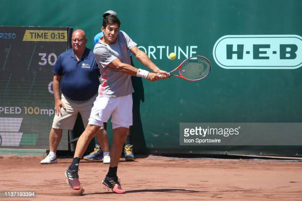 Christian Garin hits a backhand during the US Men's Clay Court Championship singles final on April 14 2019 at River Oaks Country Club in Houston TX